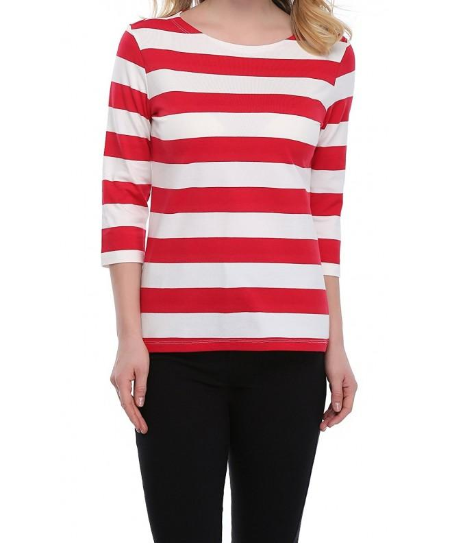 FADTOP Womens Striped T shirt Sleeve