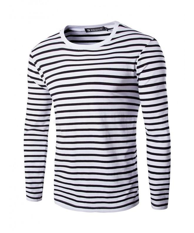 Allegra Sleeves Stripe Patterned T shirt Black