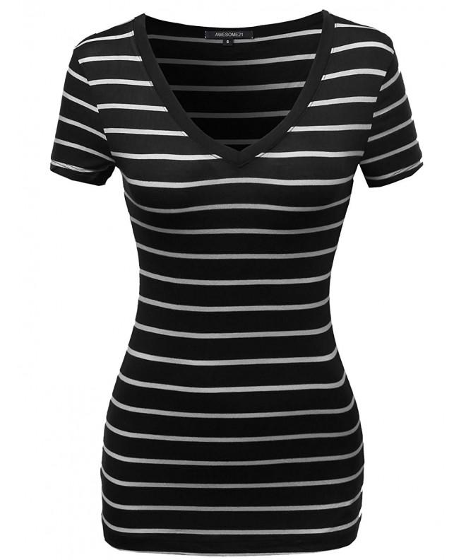 Casual Stripe Vneck Shirts Black