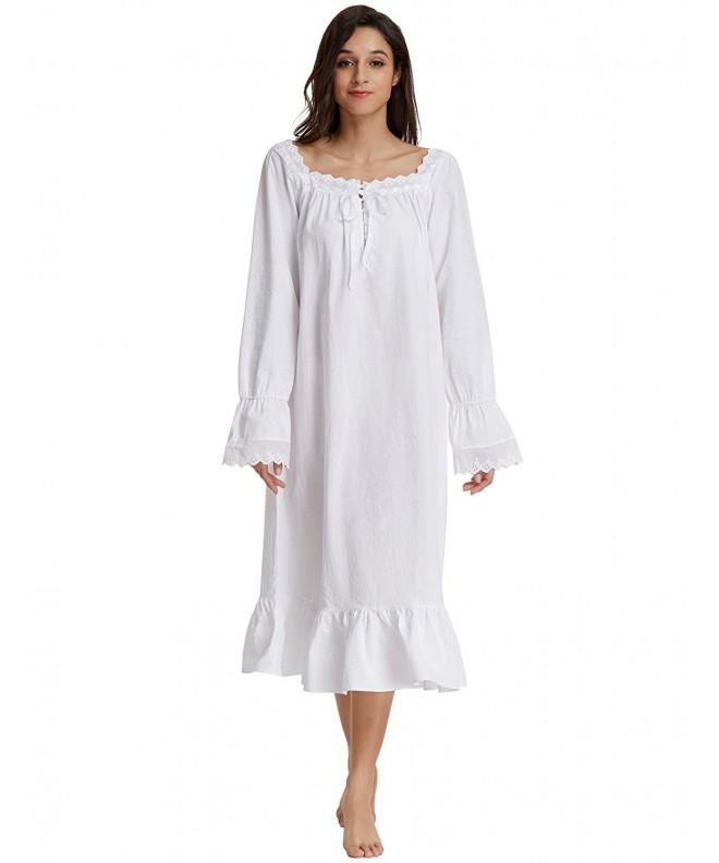 Feminine Victorian Loungewear Sleeve Nightgown