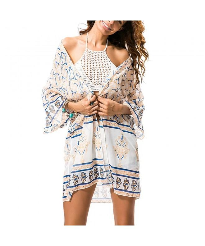 Womens Floral Beachwear Cardigan Apricot