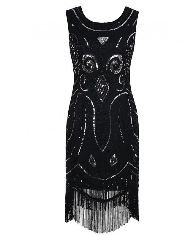 KAYAMIYA Womens Sequined Beaded Fringe