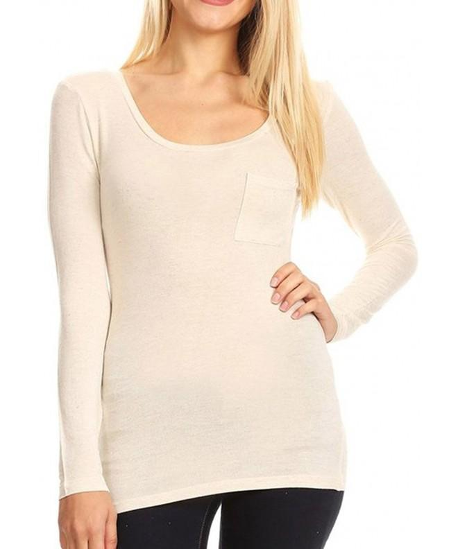 Womens Stretch Sleeve Pocket Oatmeal