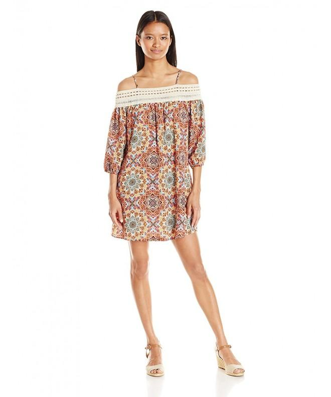 Trixxi Womens Printed Shoulder Dress
