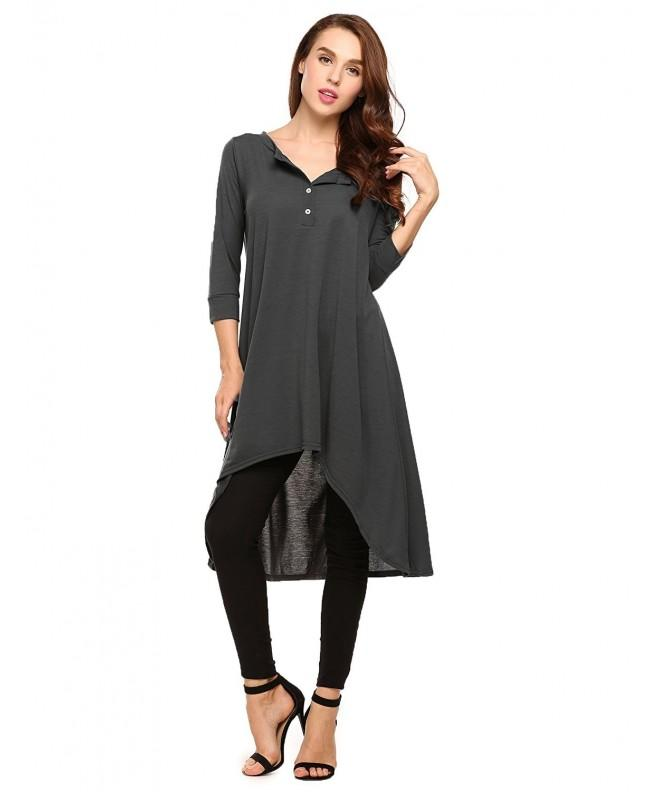 10b452ff Women Casual 3 4 Sleeve Loose Dress V Neck Cotton Flowy Long Tunic ...