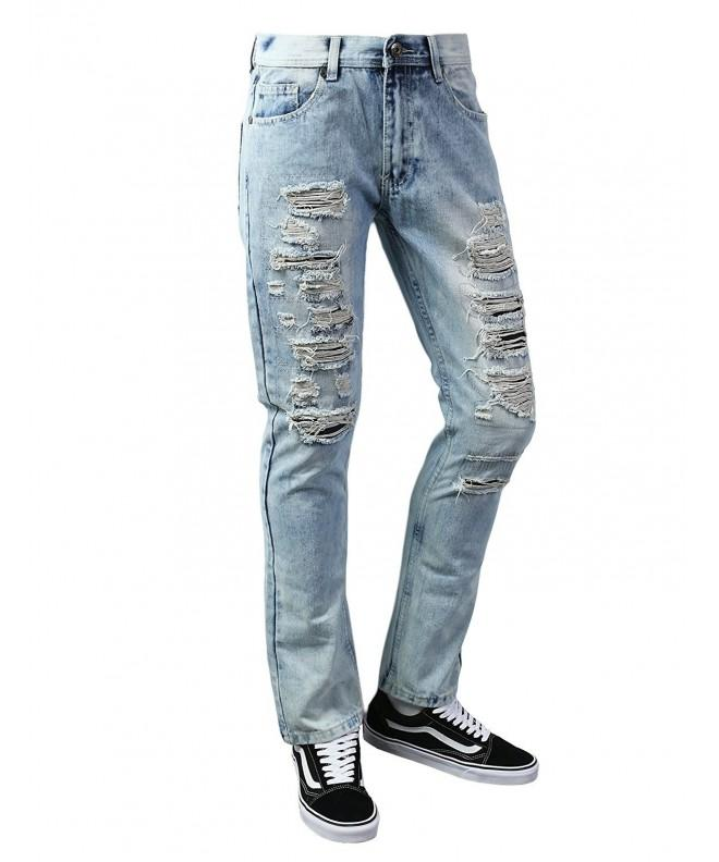 URBANCREWS Hipster Ripped Taper LtBlue