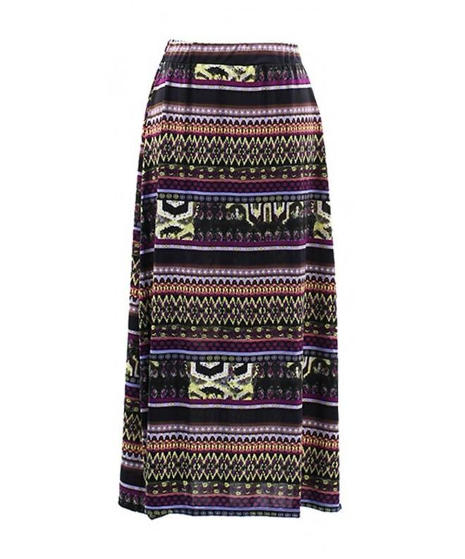 Plum Feathers Southwest Style Print Maxi Skirt