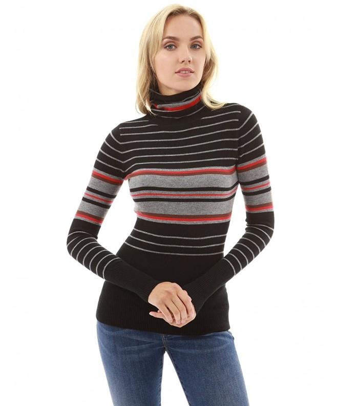 PattyBoutik Womens Turtleneck Striped Sweater