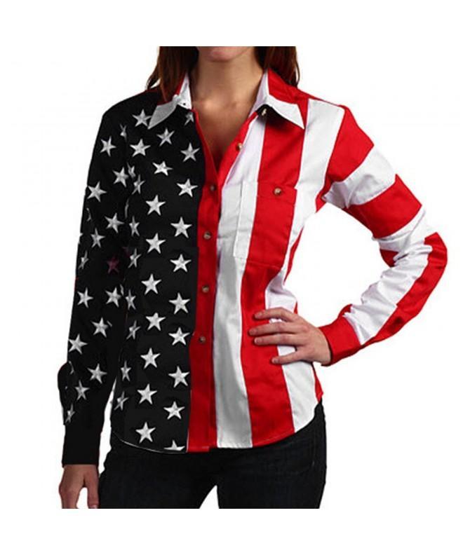 Woven Sleeve American Womens Shirt