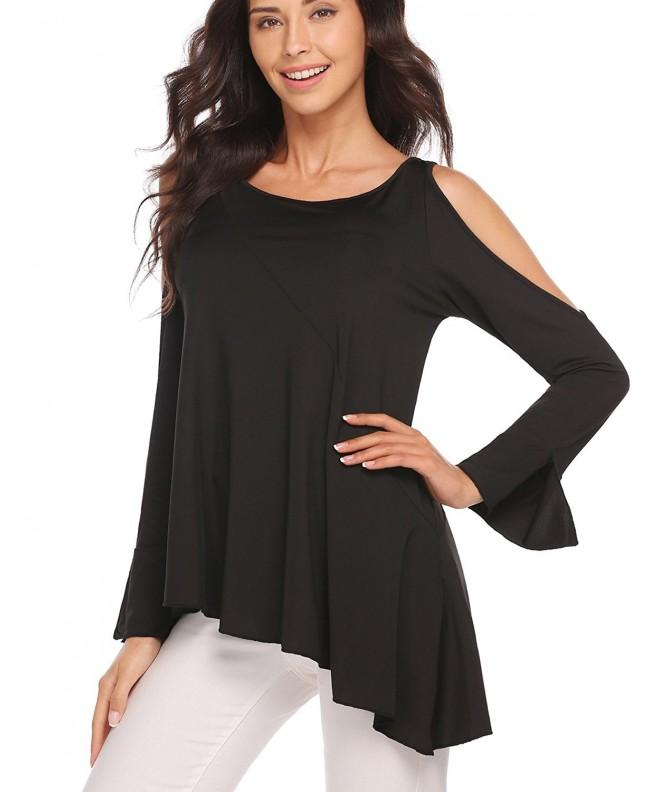 Women Shoulder Asymmetrical Chiffon Blouse
