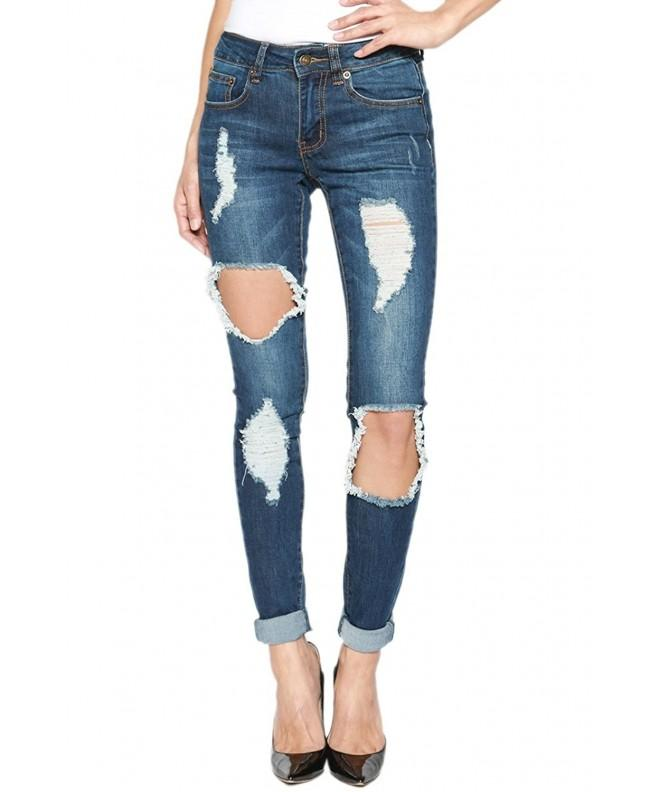 TheMogan Womens Shredded Cuffed Skinny