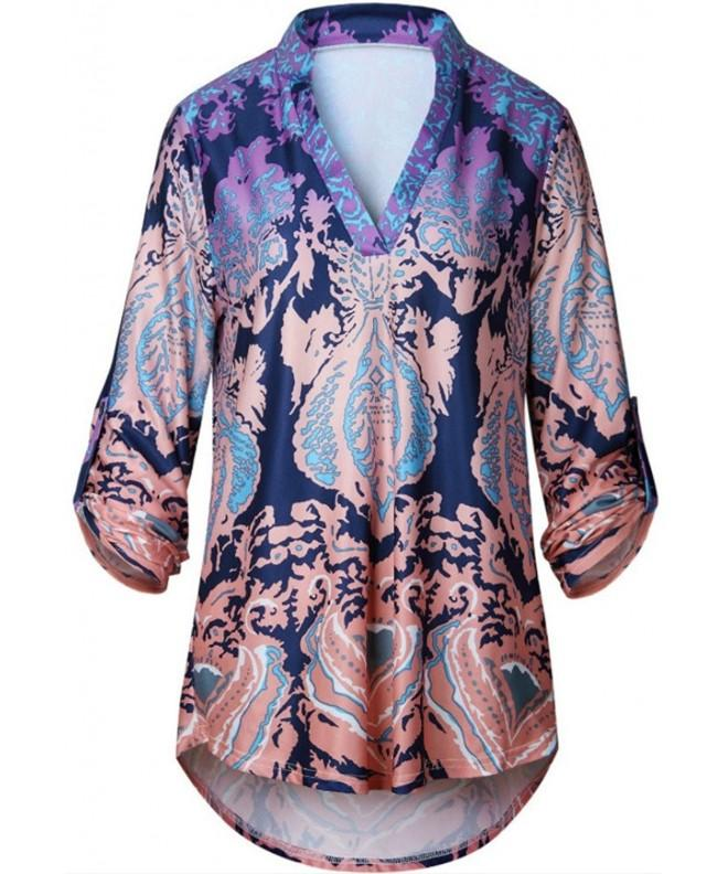 Artfish Casual V Neck Printed Blouses