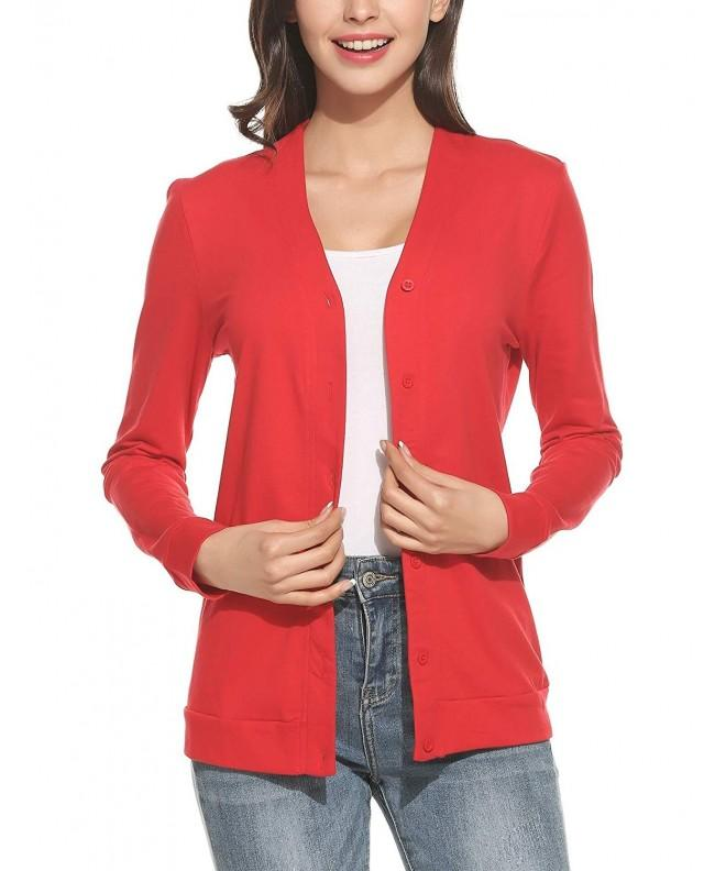 Zeagoo Womens V Neck Sleeve Cardigan