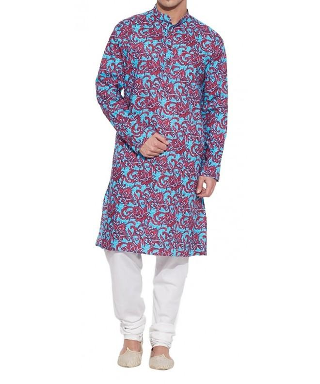 ShalinIndia Cotton Kurta Collar pockets Rust Size