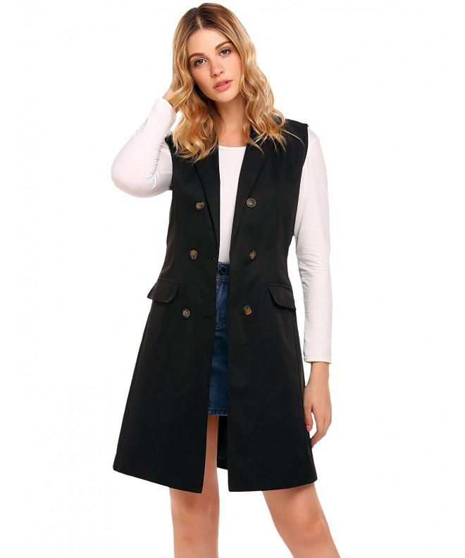 Zeagoo Womens Sleeveless Double Breasted Blazer