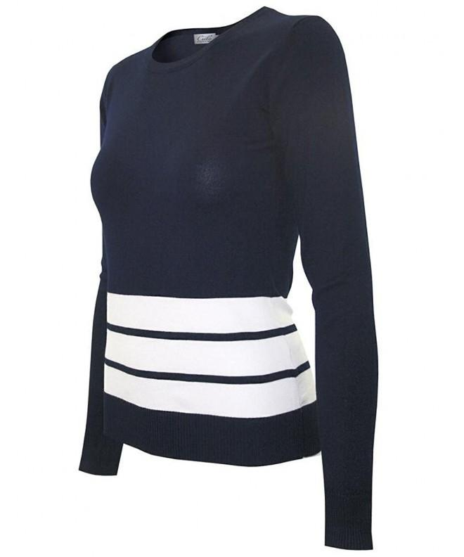 Womens Stretch Striped Pullover Sweater