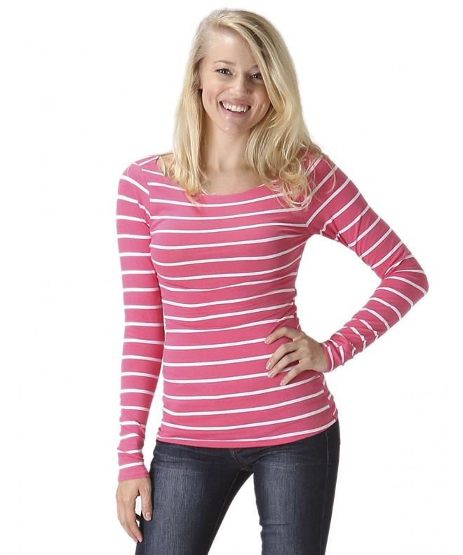 Womens Sleeve Casual Striped 87S_CORALWHITE