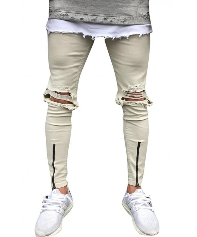 Khaki Destroyed Ripped Skinny Zipper