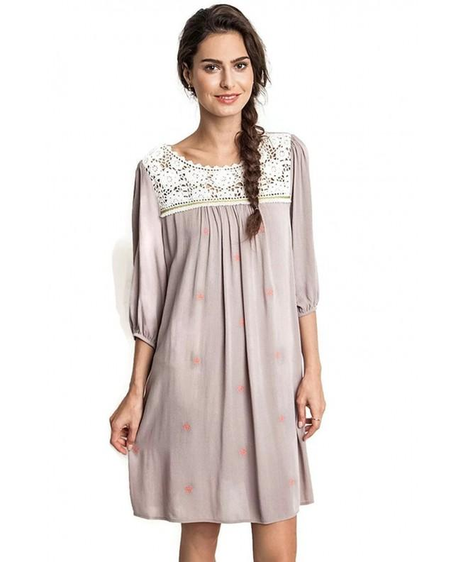 Umgee Embroidered Peasant Tunic Dress