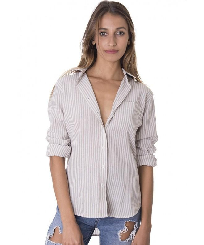 CAMIXA Womens Crushed Casual Button Down
