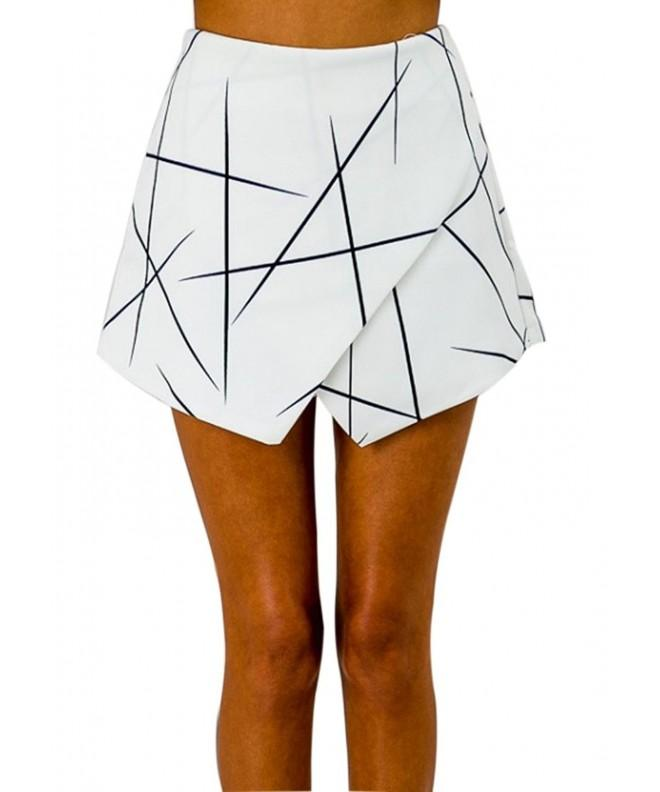 RUIGO Womens High waisted Asymmetrical Shorts